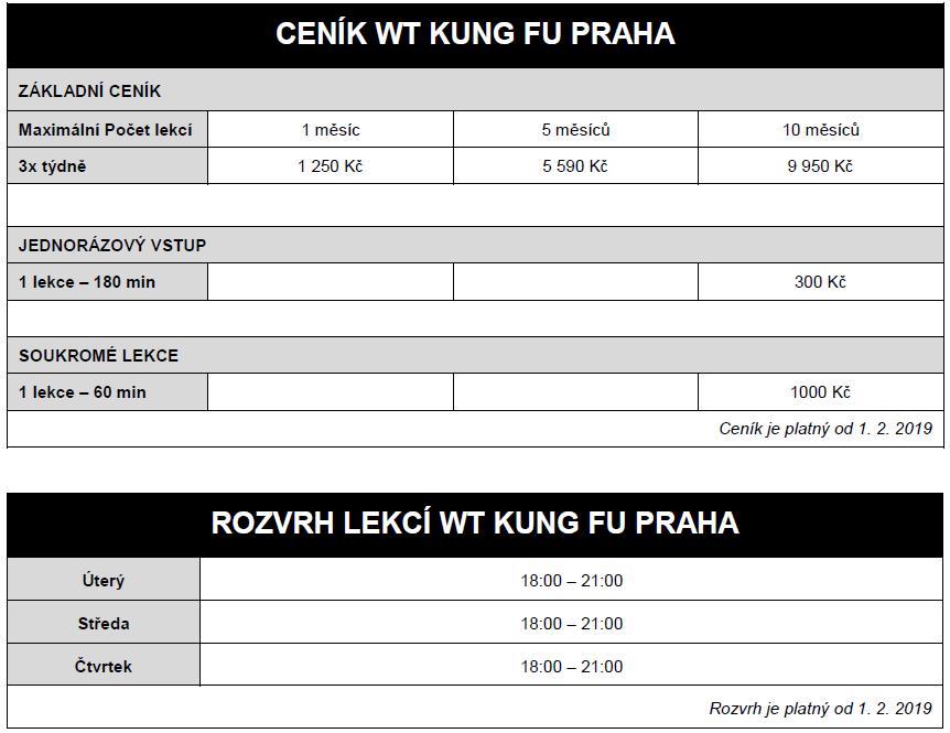 Cenik a rozvrh skoly Wing Tsun Kung Fu Praha
