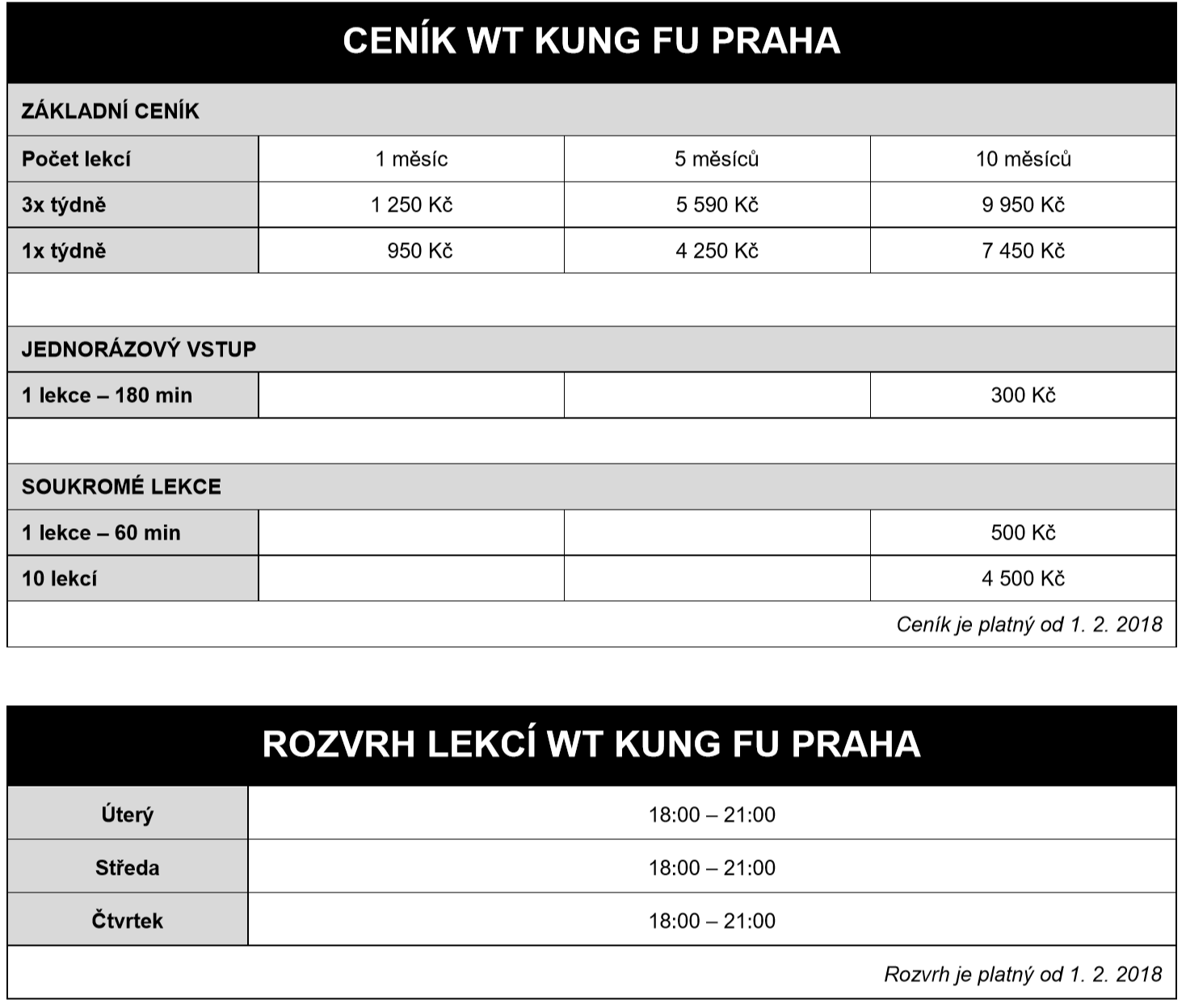 Wing Tsun Kung Fu Praha Ceník a Rozvrh Lekcí